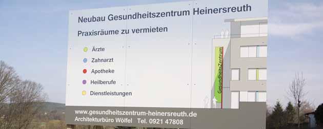 Werbetafel für das Gesundheitszentrum Heinersreuth