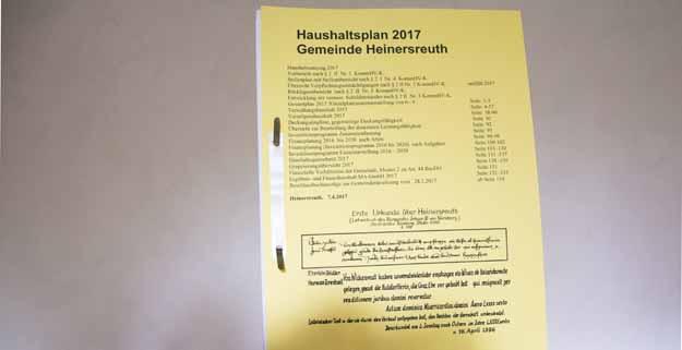 Haushaltsplan Heinersreuth 2017