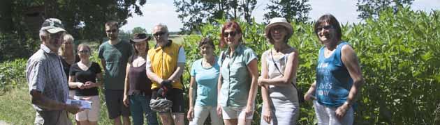 Exkursionsleiter Reinhard Wesinger stellt die Becherpflanze vor