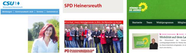 Webseiten der Parteien in Heinersreuth