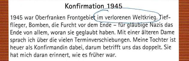 Kirchliche Nachrichten in Heinersreuth - Konfirmation 1945